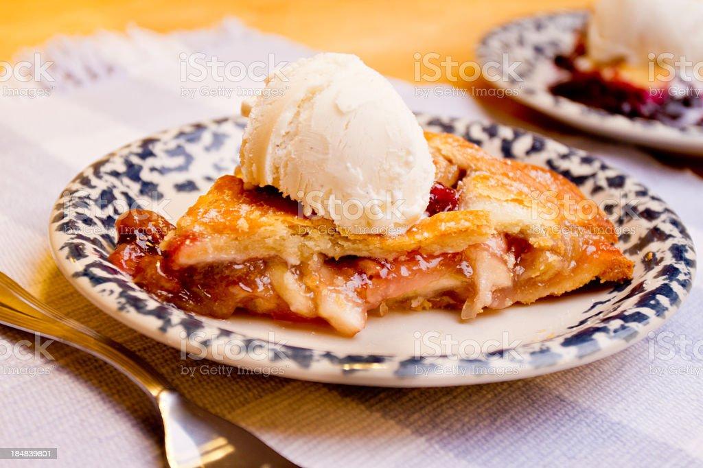 Slice of Apple Pie with Ice Cream royalty-free stock photo