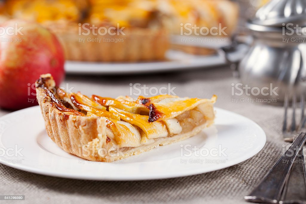 Slice of apple tart on white plate Traditional holiday dessert stock photo