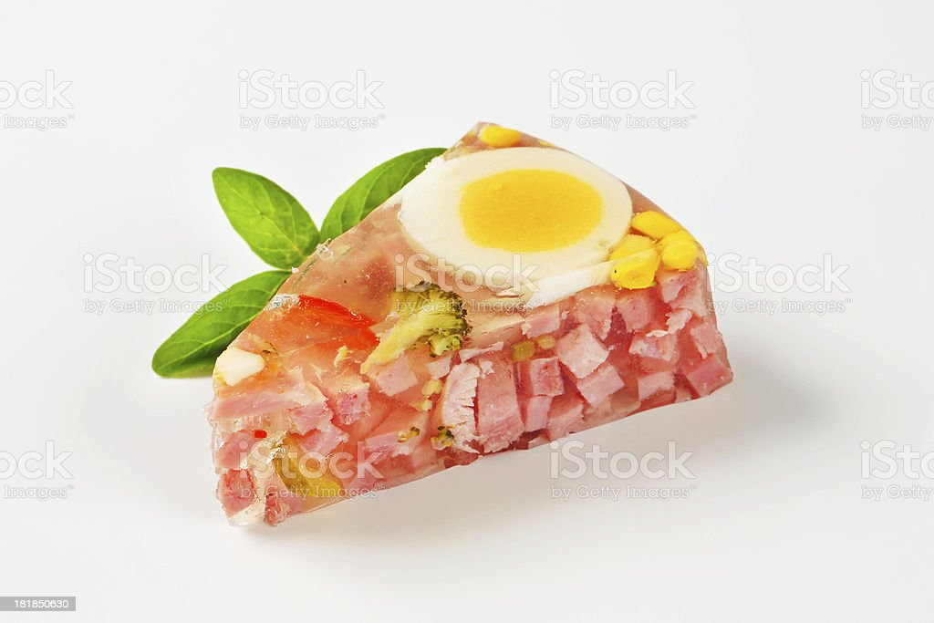 Slice of aspic cake royalty-free stock photo