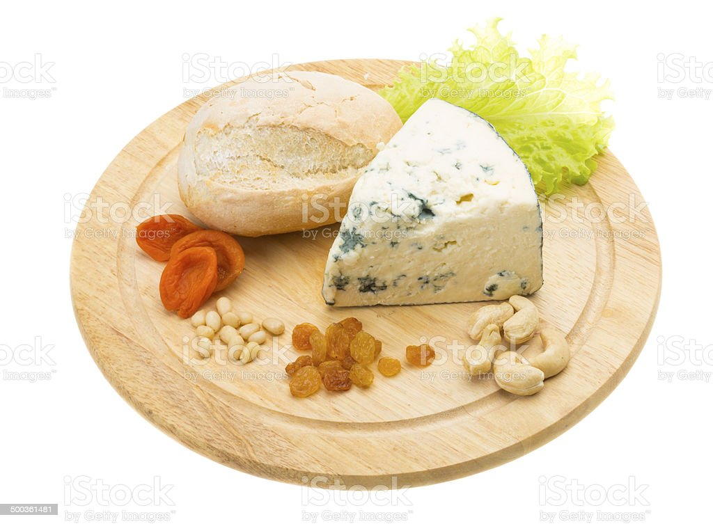Slice of blue cheese stock photo