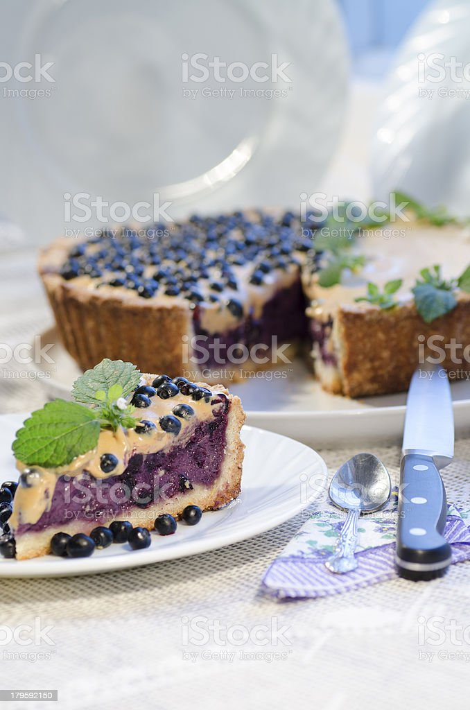 Slice of blueberry pie, mint served with knife and spoon royalty-free stock photo