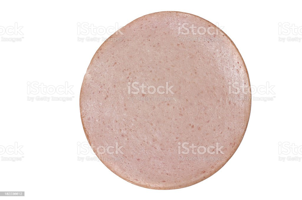 Slice of Bologna stock photo