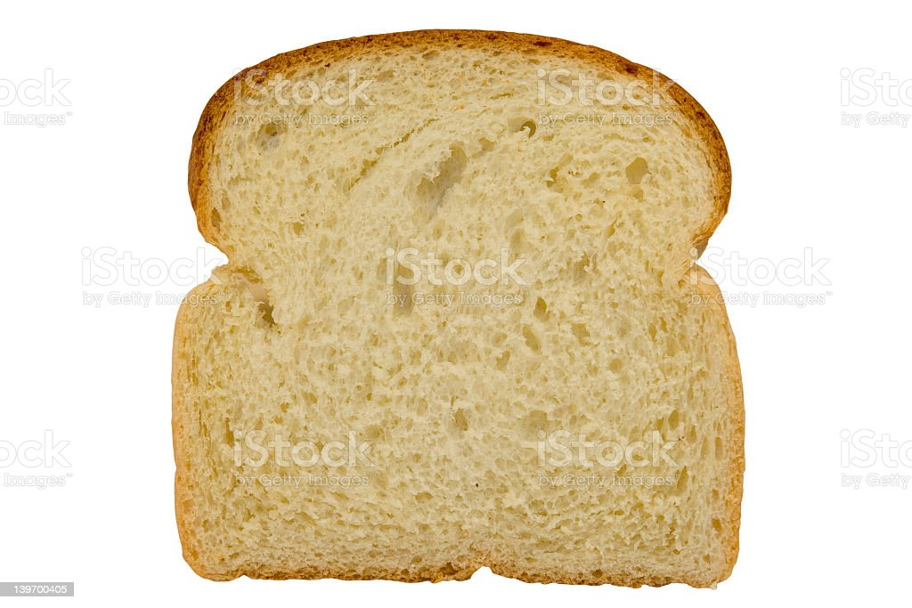 Slice of bread isolated on white background royalty-free stock photo
