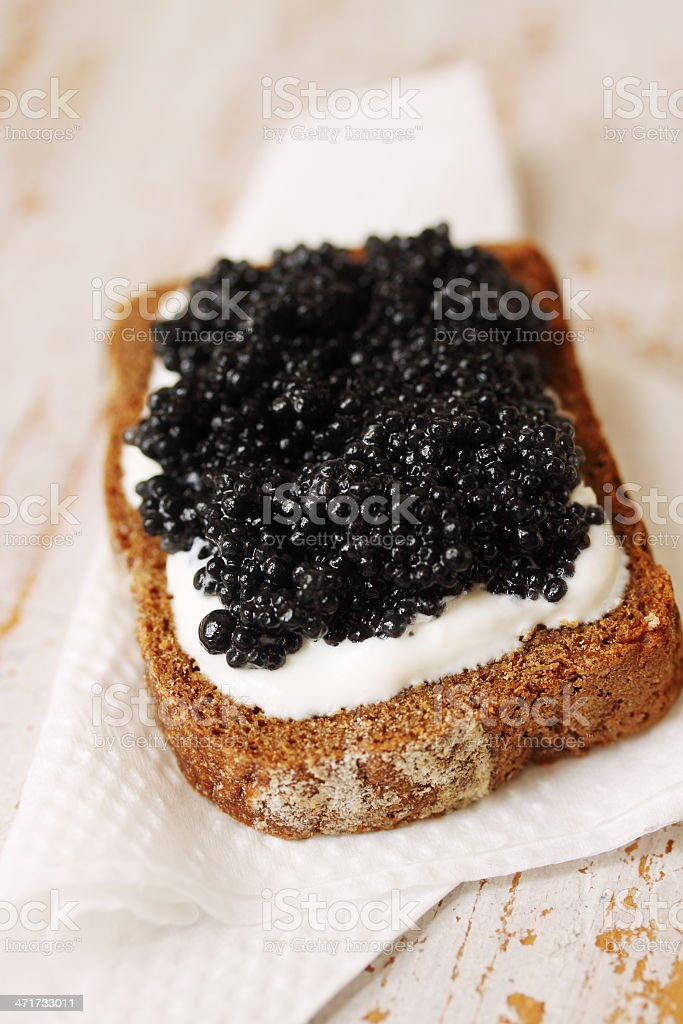 slice of bread with caviar royalty-free stock photo