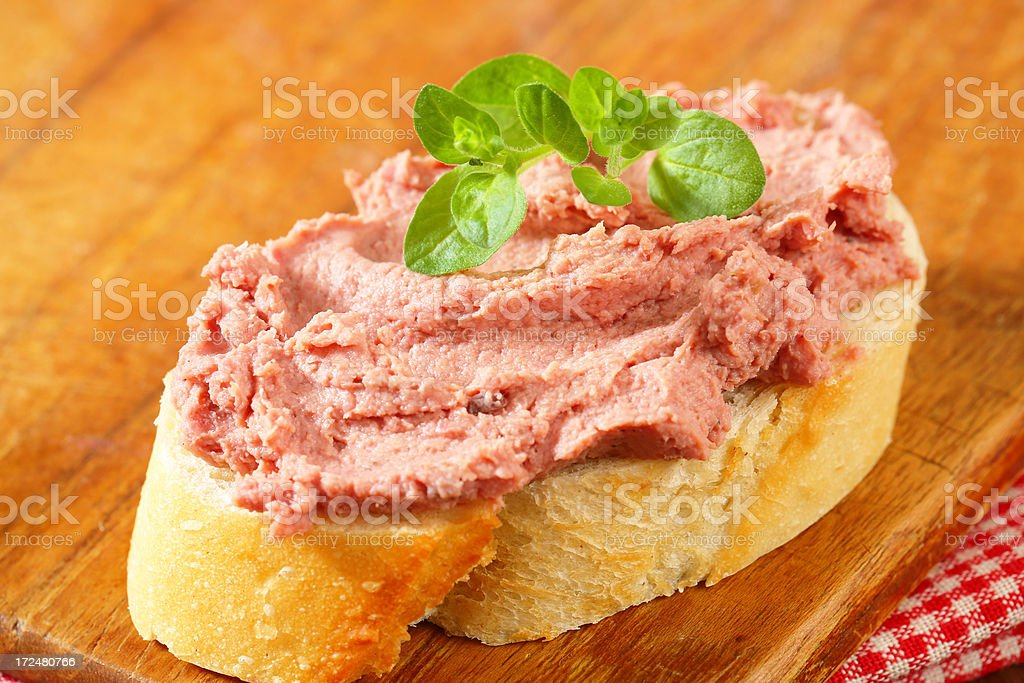 Slice of bread with liver pate stock photo
