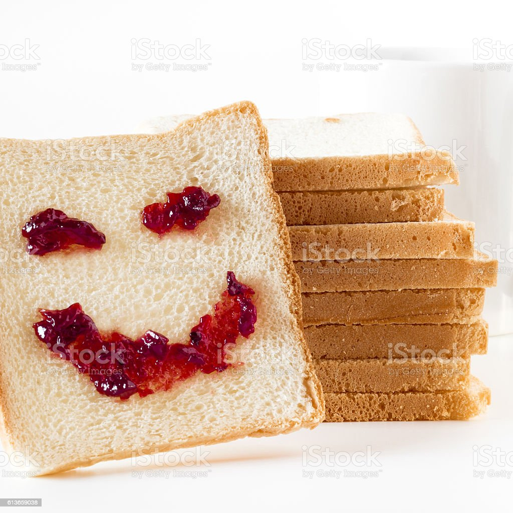 Slice of bread with personality :) stock photo