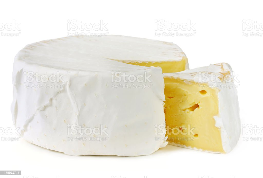Slice of Brie cheese on white background stock photo