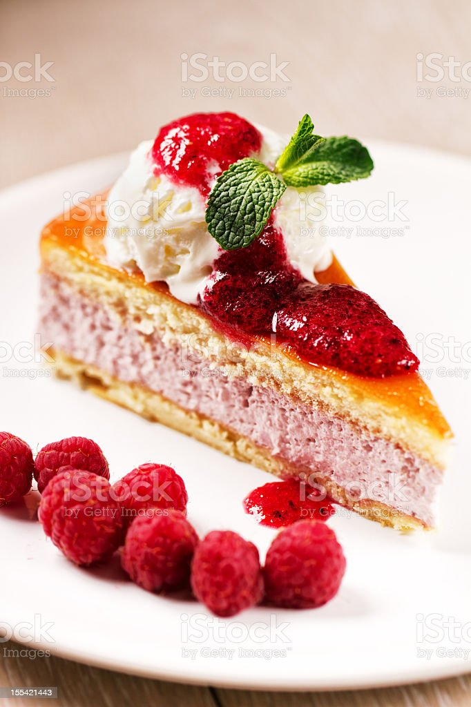 Slice of cake with ice cream royalty-free stock photo