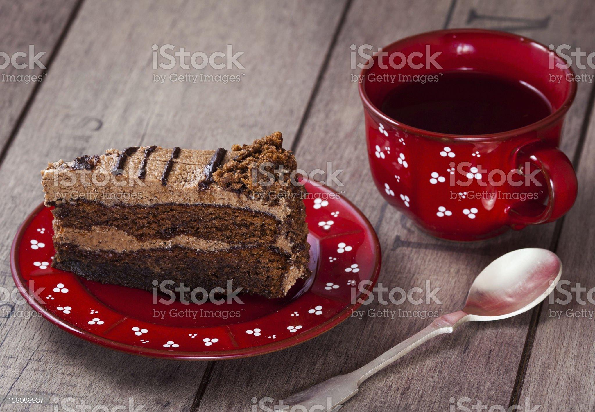 Slice of cake with tea royalty-free stock photo