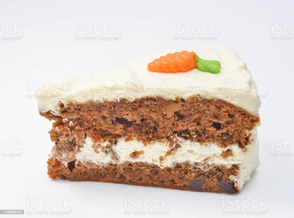 Slice of carrot cake issolate stock photo