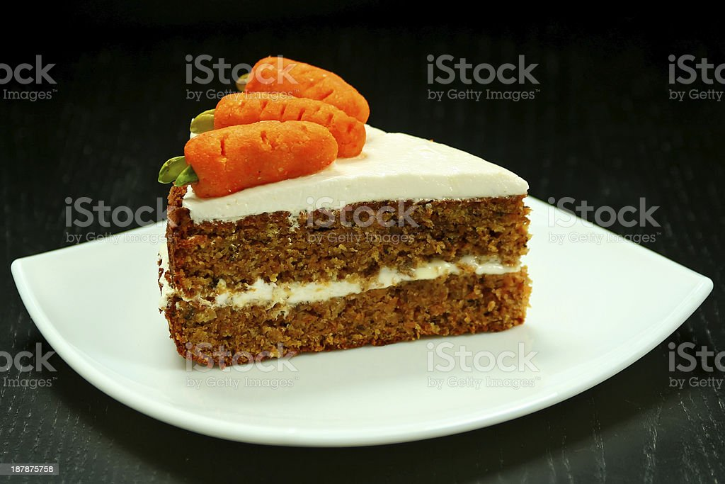 Slice of carrot cake stock photo