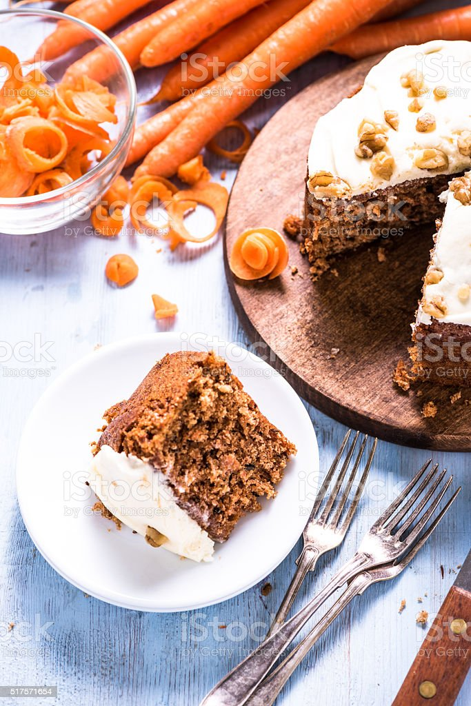 Slice of carrot cake, view from above stock photo