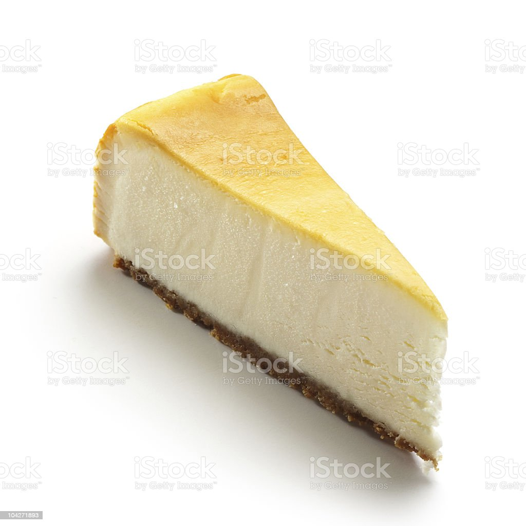 A slice of cheesecake on white background stock photo
