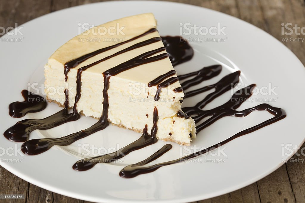 Slice Of Cheesecake With Chocolate Ganache royalty-free stock photo