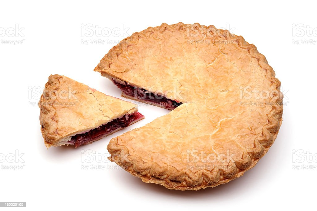 A slice of cherry pie removed from main pie stock photo