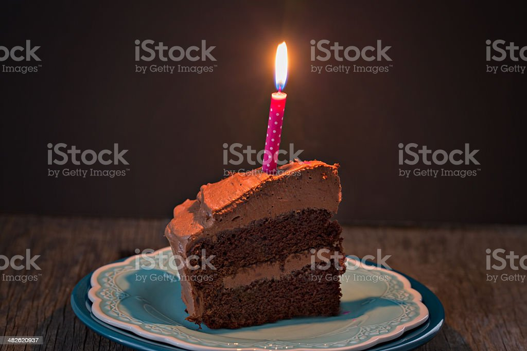 Slice Of Chocolate Cake And Candle. royalty-free stock photo