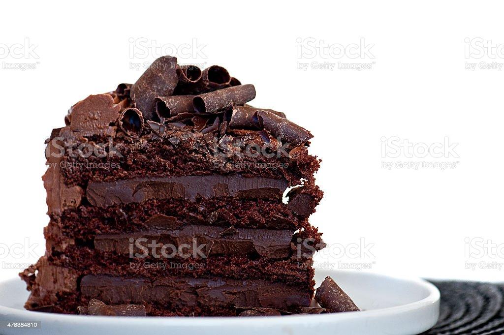 Slice of Chocolate Cake on White Plate stock photo