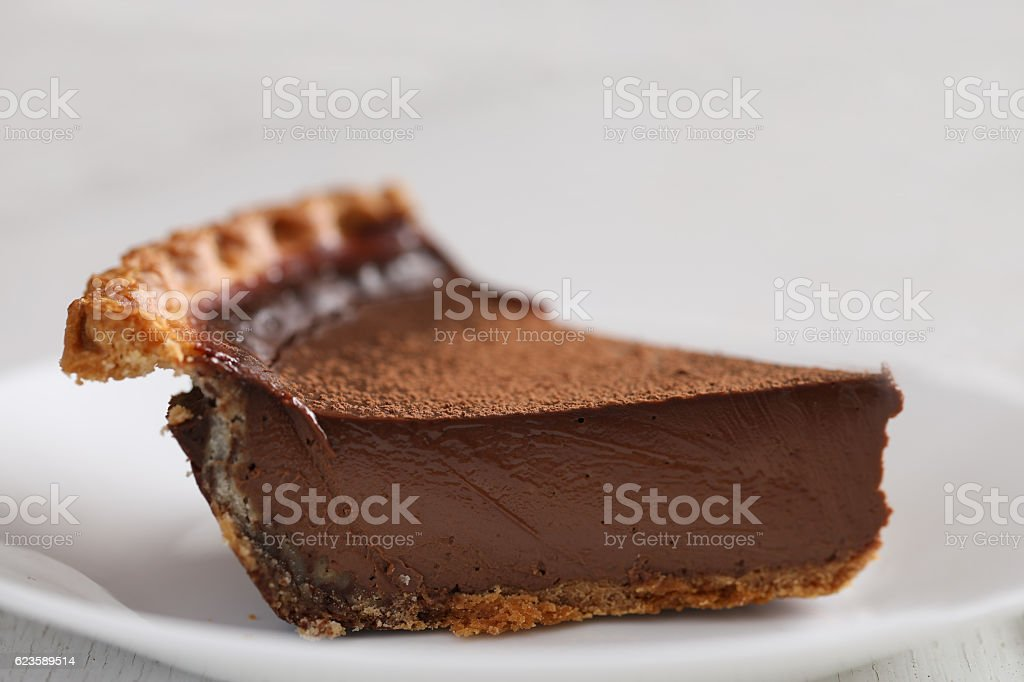 Slice Of Chocolate Derby Pie, Side View stock photo