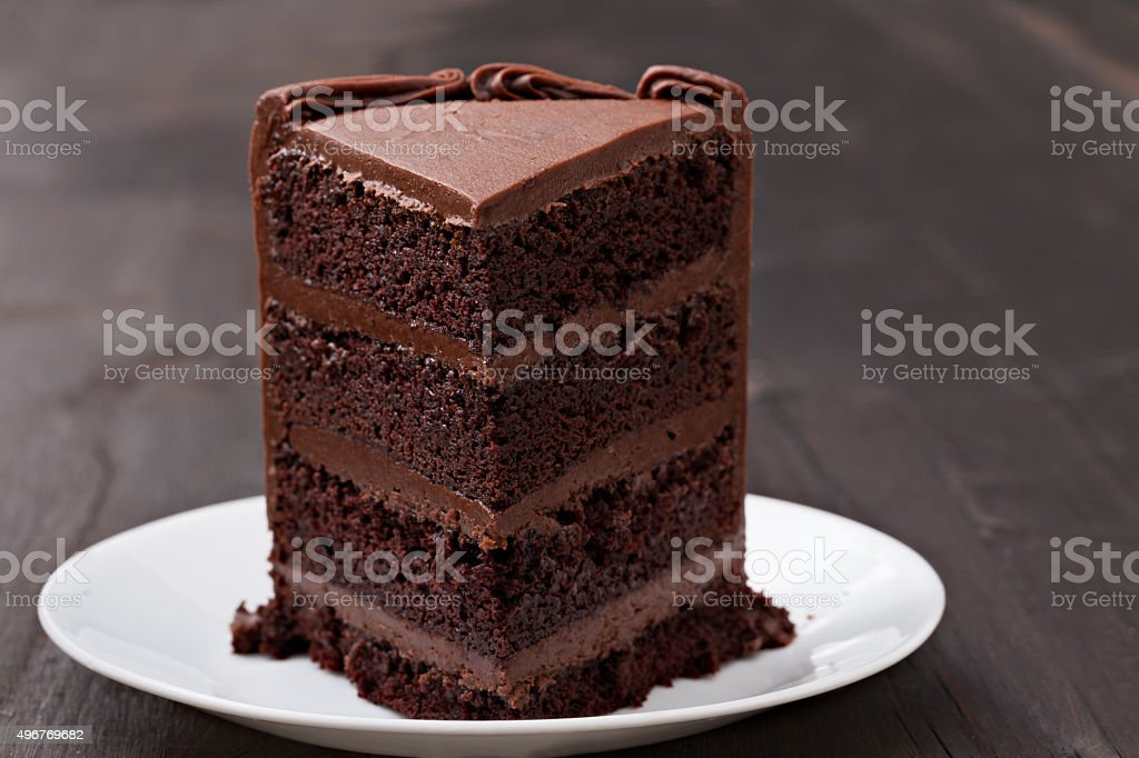 Slice Of Chocolate Fudge Cake stock photo
