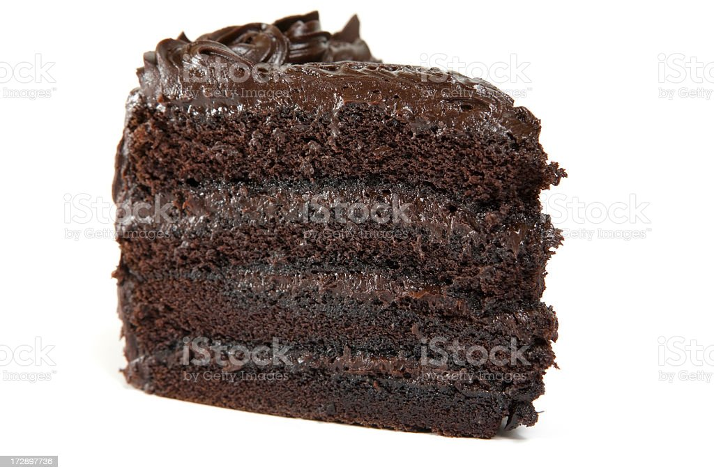 Slice of chocolate layer cake on a white background stock photo