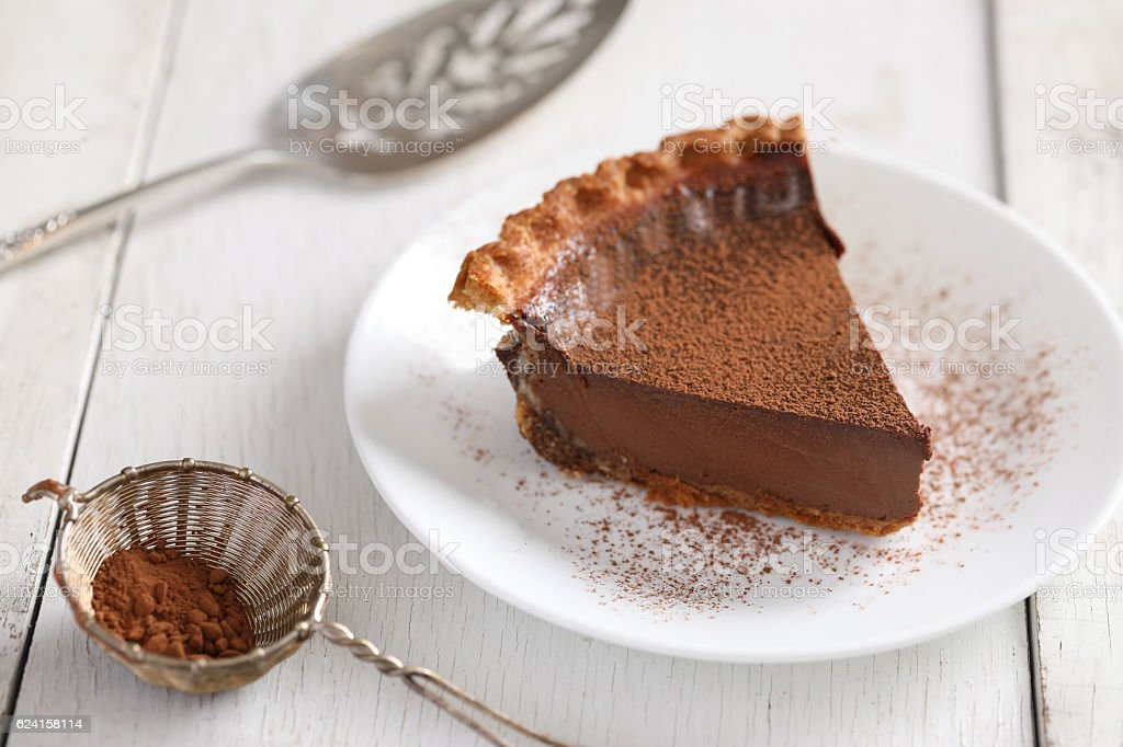 Slice Of Chocolate Pie Dusted With Cocoa Powder stock photo