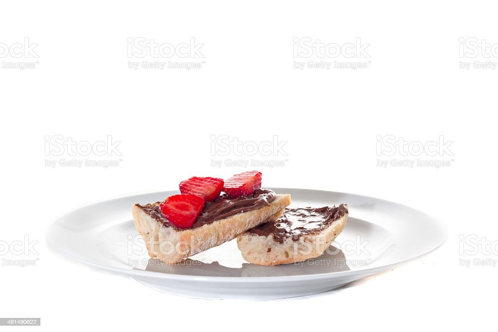 slice of chocolate spread on white background stock photo