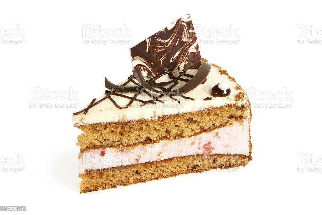 Slice of cream cake with chocolate royalty-free stock photo