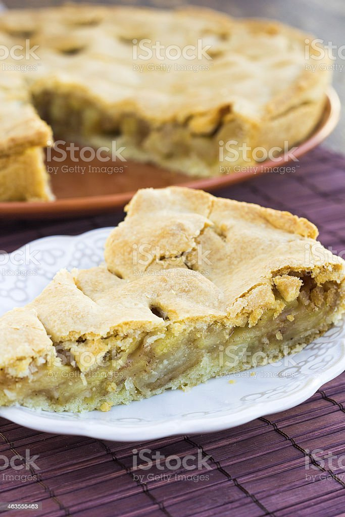 Slice of delicious fresh baked american apple pie stock photo
