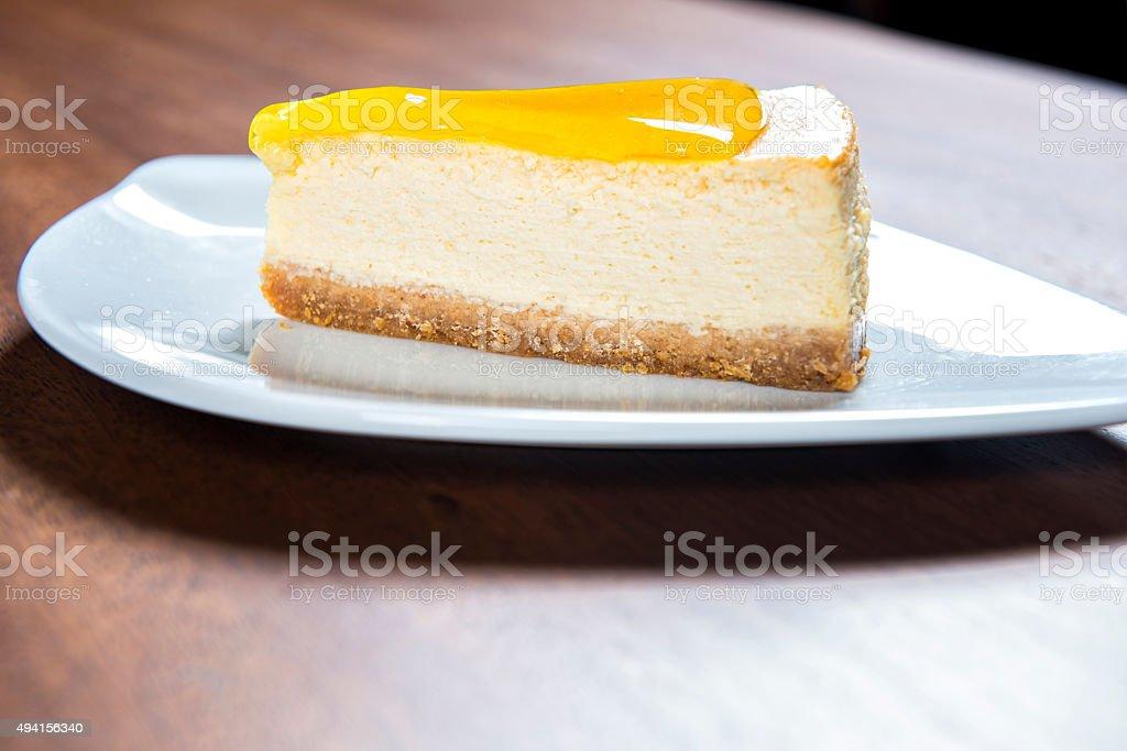 Slice Of Delicious Lemon Cheesecake stock photo