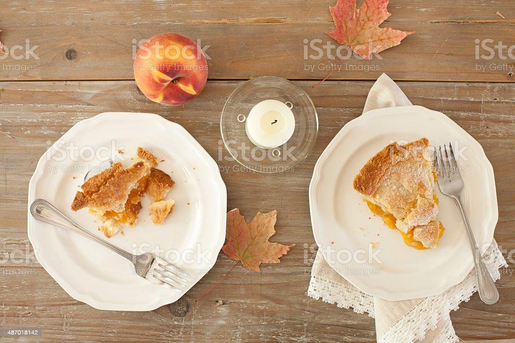 Slice of Fresh Peach Pie stock photo