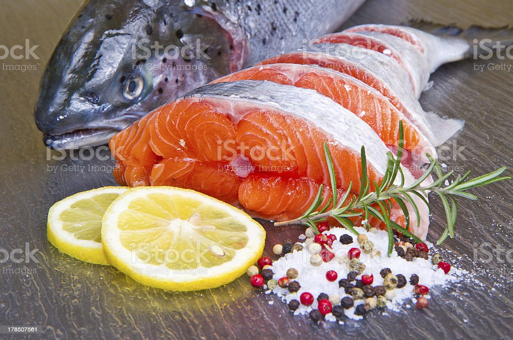 slice of fresh salmon royalty-free stock photo