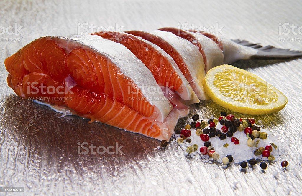 slice of fresh salmon royalty-free stock photo