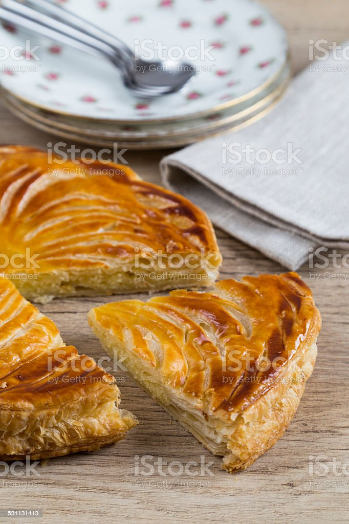 Slice of Galette des Rois stock photo