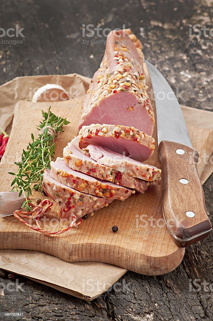 Slice of ham baked in spices royalty-free stock photo