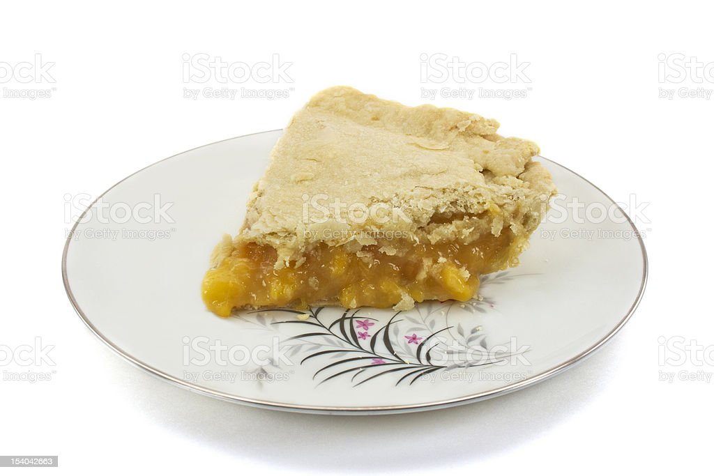 Slice of Homemade Peach Pie stock photo