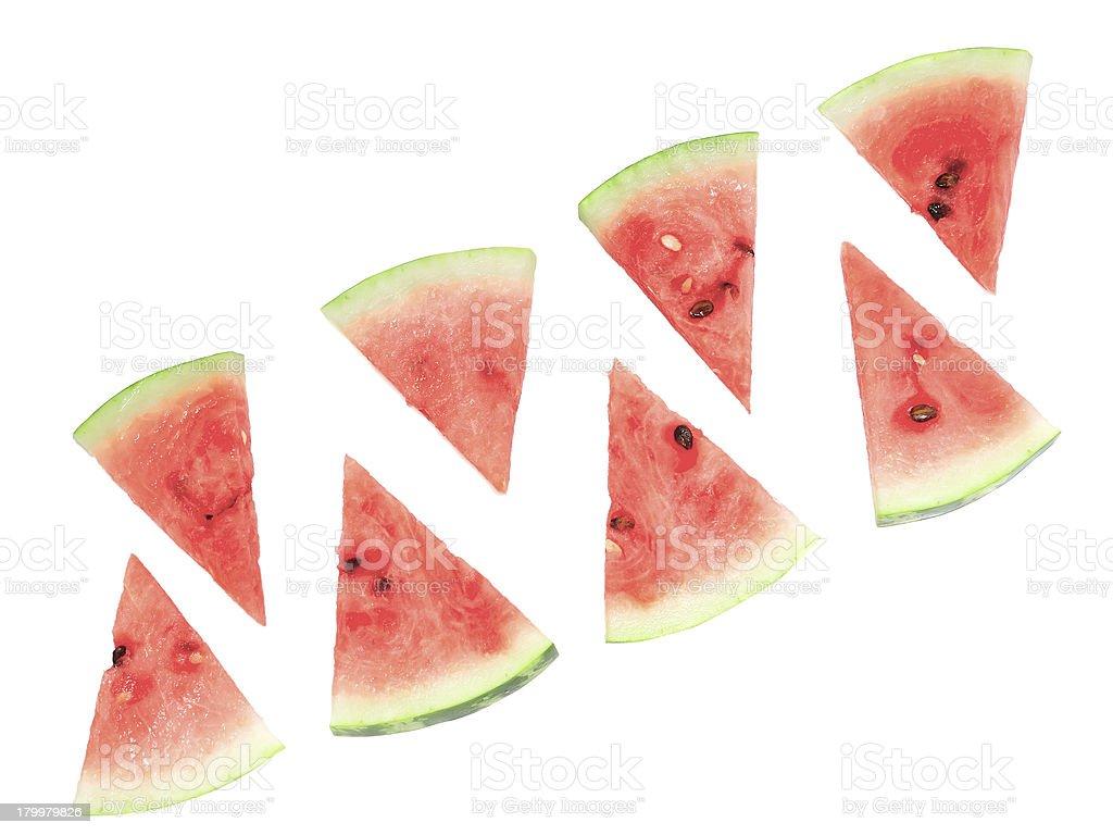 Slice of juicy watermelon. Isolated royalty-free stock photo