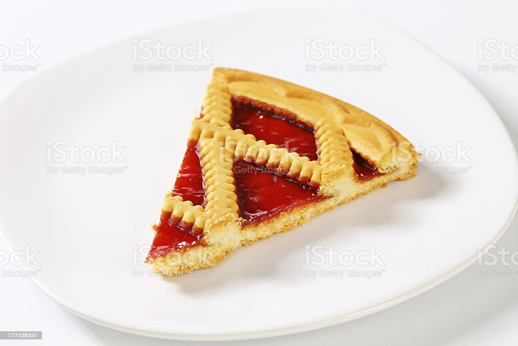 slice of lattice pie stock photo