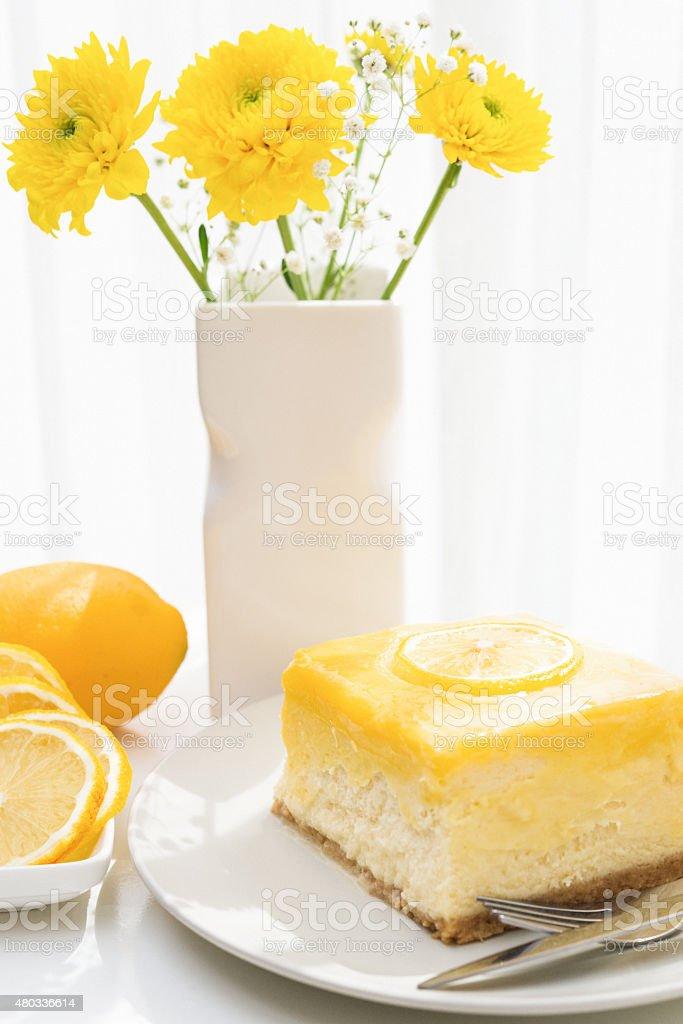 Slice of Lemon Cheesecake stock photo