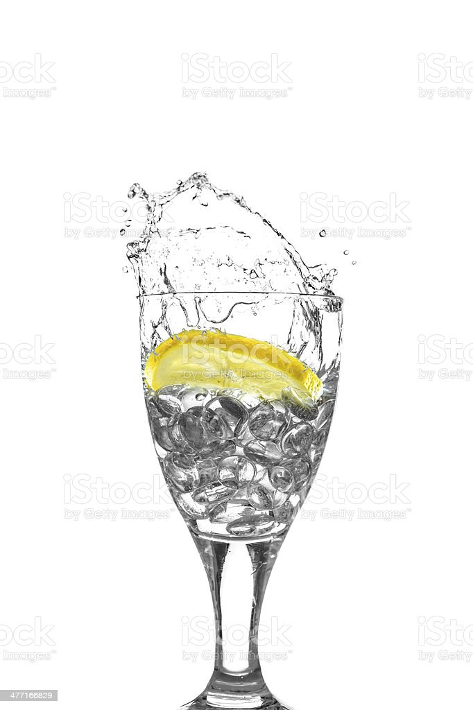 Slice of Lemon in Glass stock photo