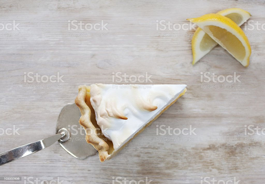 Slice of lemon meringue pie stock photo