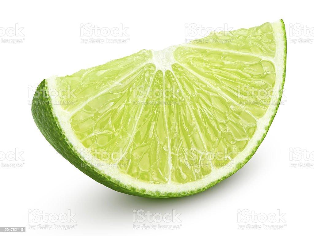Slice of lime citrus fruit isolated on white stock photo