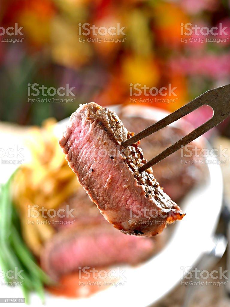 Slice of New York Steak royalty-free stock photo