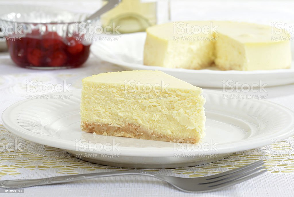 Slice of new york style cheesecake stock photo