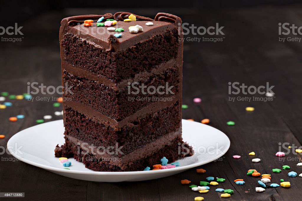 Slice Of Old Fashioned Chocolate Fudge Cake stock photo
