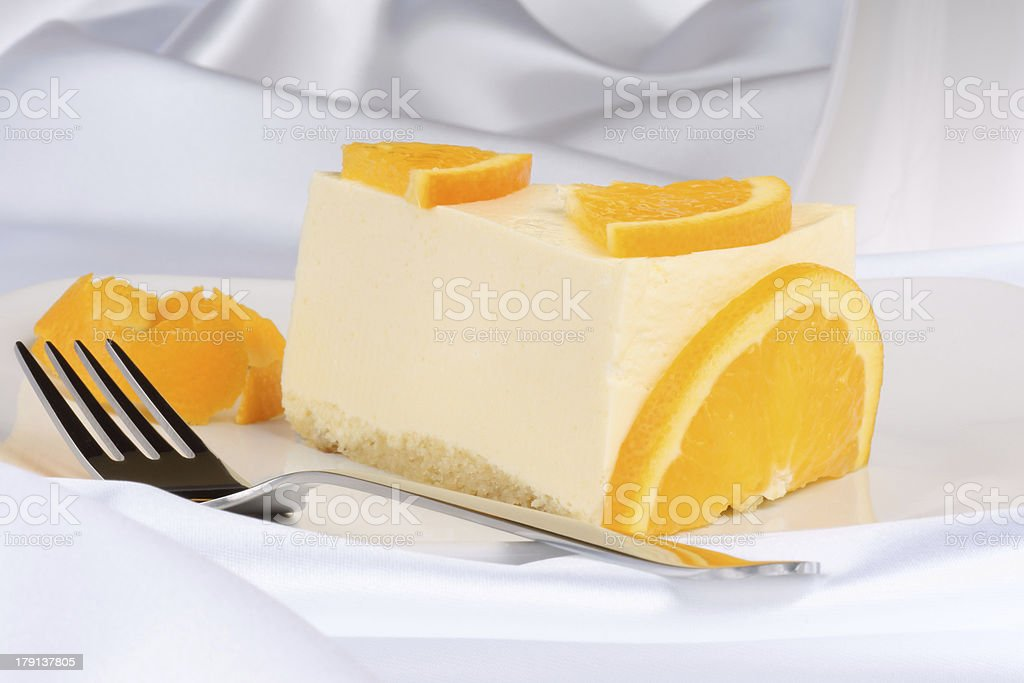 Slice of orange bavarian cream (bavarese) stock photo