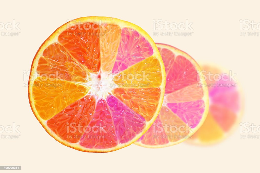 slice of orange fruit . stock photo