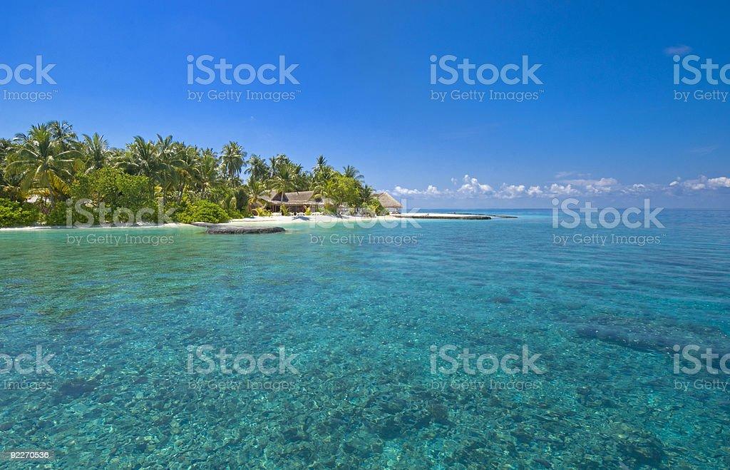 slice of paradise at isolated Maldive Island royalty-free stock photo