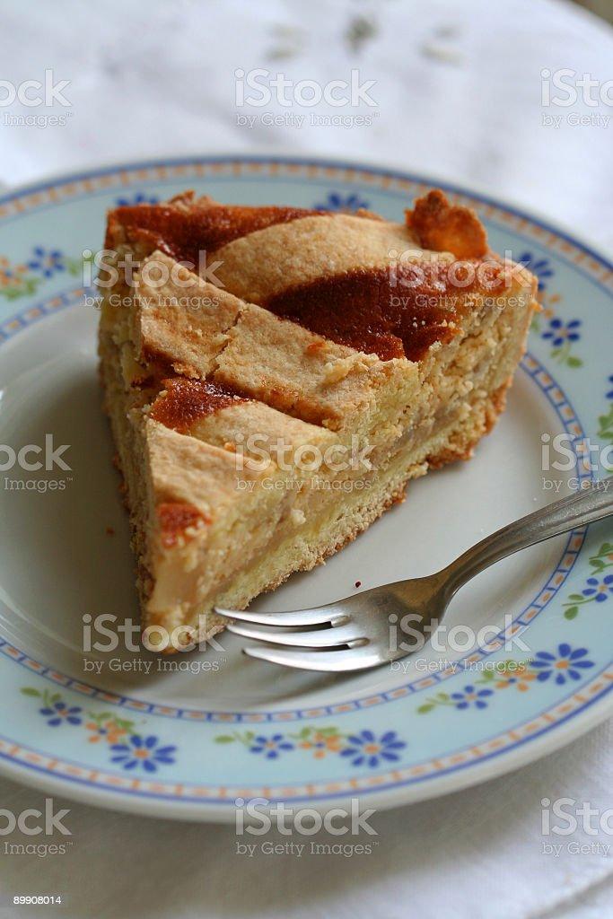 Slice of Pastiera, Neapolitan Easter Cake royalty-free stock photo