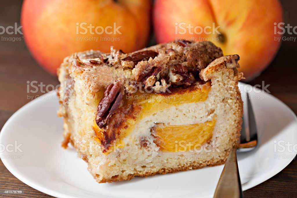 Slice Of Peach Cake stock photo