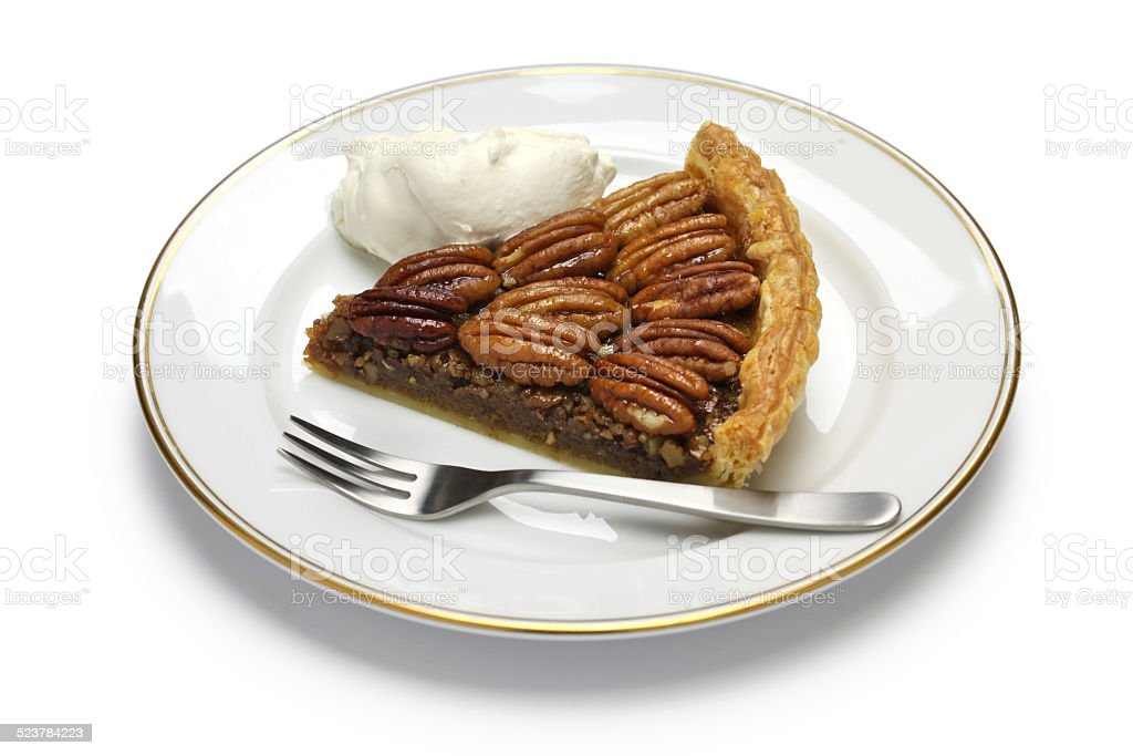 slice of pecan pie stock photo